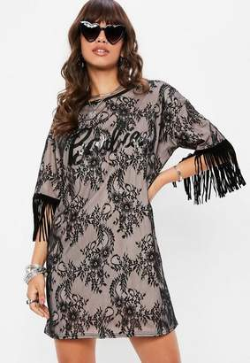 Missguided Barbie x Black Fringe Lace T Shirt Dress