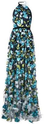 Marchesa 3D floral halter neck gown