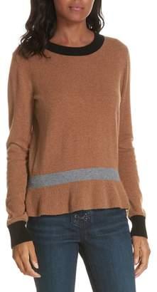 Veronica Beard Sistene Ruffle Hem Cashmere Sweater