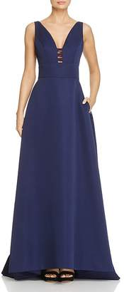 Carmen Marc Valvo Infusion Cutout V-Neck Gown $398 thestylecure.com