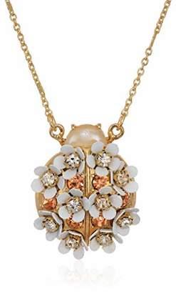 Betsey Johnson GBG) Women's Floral Ladybug Pendant Necklace