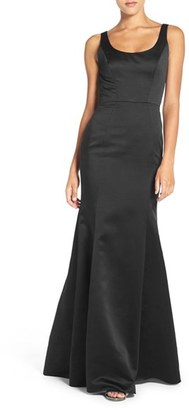 Women's Hayley Paige Occasions Back Cutout Scoop Neck Satin Trumpet Gown $275 thestylecure.com