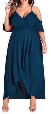 City Chic Plus Miss Jessica Cold-Shoulder Fit-&-Flare Dress