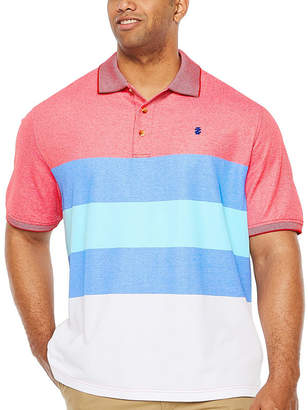 Izod Advantage Performance Colorblock Short Sleeve Stripe Knit Polo Shirt Big and Tall