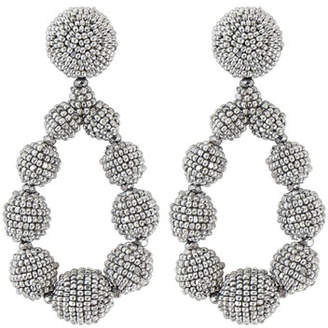 Sachin + Babi Seed Bead Teardrop Clip-On Earrings, Silver