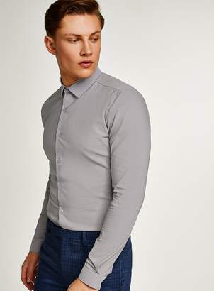 Grey Textured Muscle Fit Long Sleeve Shirt