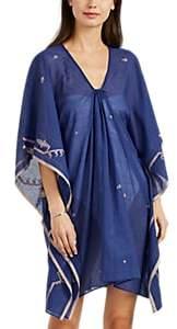 Two Women's Jamdani Folkloric-Pattern Cotton Caftan - Md. Blue