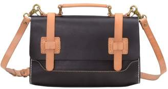 EAZO - Contrast Leather Straps Satchel Bag In Black