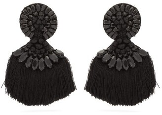 Etro Crystal Embellished Fringed Clip On Earrings - Womens - Black