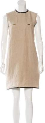 Celine Leather-Trimmed Linen Dress