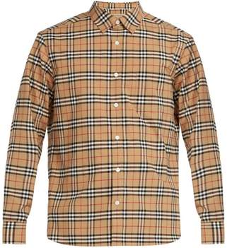 Burberry George House Check Cotton Blend Shirt - Mens - Beige Multi