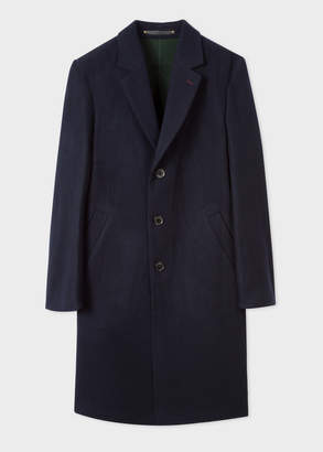 Paul Smith Men's Navy Double Face Wool-Blend Overcoat