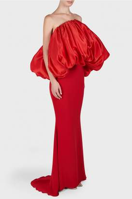 Isabel Sanchis Bonnie Overlay Red Bustier Dress