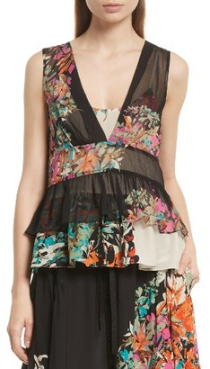 Women's Tracy Reese Sheer Silk Peplum Shell $248 thestylecure.com