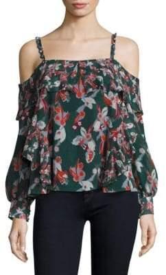Tanya Taylor Floral Ikat Gauze Daisy Silk Cold Shoulder Top