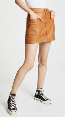 Free People High A-Line Vegan Mini Skirt
