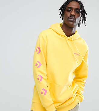 Converse Pullover Hoodie With Arm Print In Yellow Exclusive To ASOS