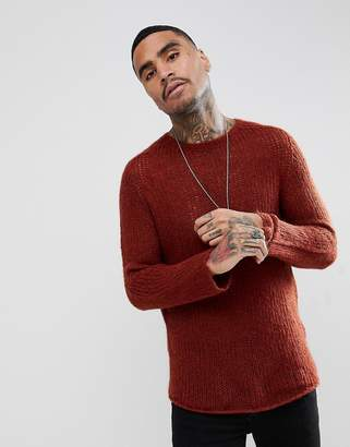 Asos Design Open Stitch Sweater In Mohair Wool Blend In Orange