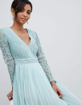 Little Mistress lace top midi skater dress with pleated skirt in spearmint