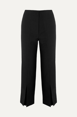 SOLACE London The Inez Cropped Crepe Tapered Pants - Black