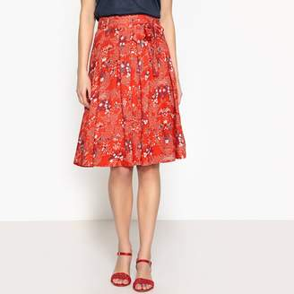 Anne Weyburn Floral Print Skirt with Tie Waist Belt