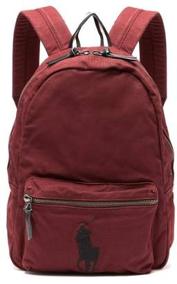 Polo Ralph Lauren Logo Embroidered Canvas Backpack - Mens - Red