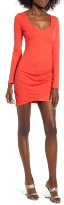 Rowa Row A Long Sleeve Ruched Ribbed Body-Con Dress