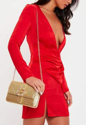 Missguided Gold Glitter Gem Clasp Clutch Bag