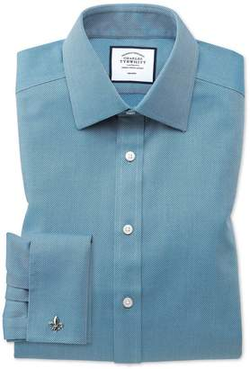 Charles Tyrwhitt Classic Fit Non-Iron Teal Arrow Weave Cotton Dress Shirt French Cuff Size 15.5/33