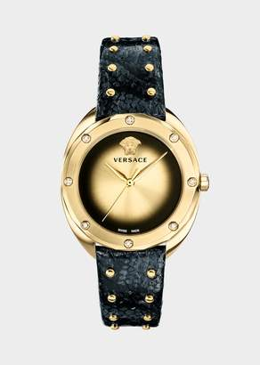 Versace Black Leather Diamond Shadov Watch
