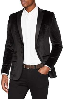 New Look Men Velvet Blazer, Black (Black Black)