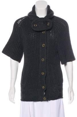 Balenciaga Cable Knit Three-Quarter Sleeve Cardigan