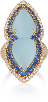 Sara Weinstock 18K Gold Aquamarine Sapphire And Diamond Ring
