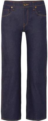 KHAITE Wendell Cropped High-rise Wide-leg Jeans - Dark denim