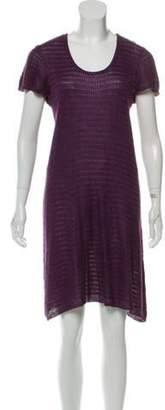 Gucci Linen-Blend Scoop Neck Dress Purple Linen-Blend Scoop Neck Dress