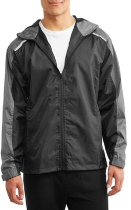 Climate Concepts Men's Full Zip Rip Stop Hooded Lightweight Jacket With Reflective Trim, Up To Size 2Xl