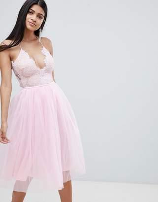 Rare London Scallop Lace Midi Tutu Dress