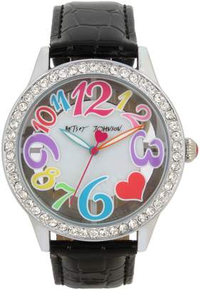 Betsey Johnson Silvertone Crystal Crocodile-Embossed Strap Watch