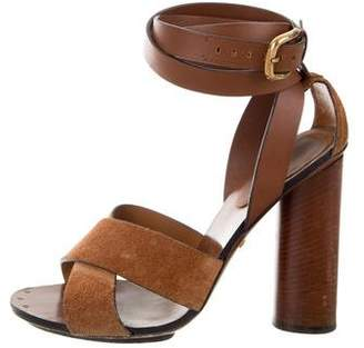 Gucci Suede & Leather Crossover Sandals