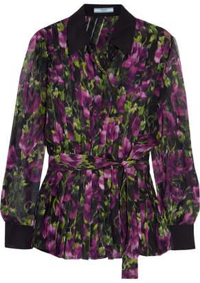 Prada Pleated Floral-print Silk-crepon Blouse - Purple