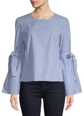 Stripe Bell-Sleeve Cotton Top