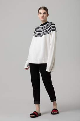 Amanda Wakeley White Jacquard Knit Oversized Jumper