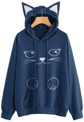 Tomteamell Womens Cat Print Pullover Hoodie Teen Girls Cute Cat Ear Hooded Sweatshirt XS