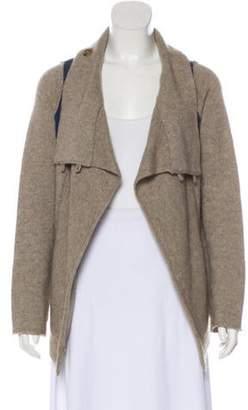 360 Cashmere Wool Knit Cardigan Khaki Wool Knit Cardigan