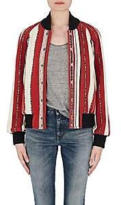 Saint Laurent WOMEN'S BAJA-STRIPED WOOL-COTTON BOMBER JACKET-RED SIZE 38 FR