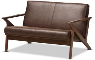 Baxton Studio Bianca Mid-Century Modern Walnut Wood Dark Brown Distressed Faux Leather 2-Seater Loveseat