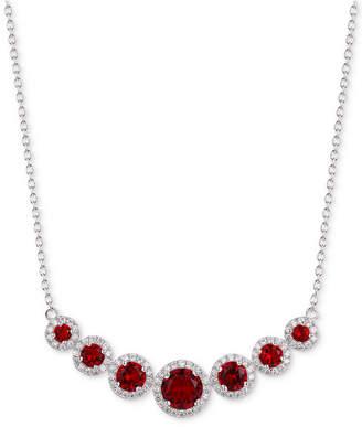 "Tiara Cubic Zirconia Multi-Stone Halo 18"" Statement Necklace"