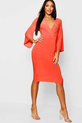 boohoo Wrap Flared Sleeve Midi Dress