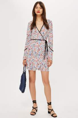 Topshop Plisse Print Wrap Mini Dress