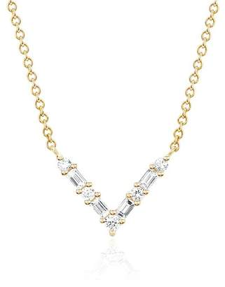 Ef Collection 14K Yellow Gold Diamond Baguette Chevron Necklace - 0.18 ctw